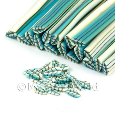 Nail Art dnc05 Disciplined 3x Handmade Pale Blue Leaf Canes