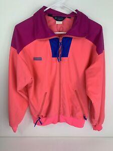VINTAGE Columbia women's Color-block Neon track jacket Sz L - Fits Small 80s 90s