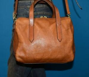 Image Is Loading Fossil Sydney Satchel Small Brown Leather Convertible Cross