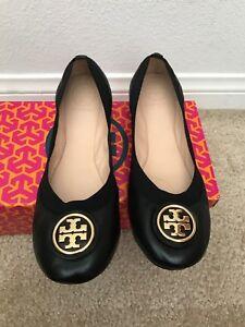 c123e54b9f3 NIB TORY BURCH Black Claire Ballet Flat- Tumbled Leather    CHOOSE ...