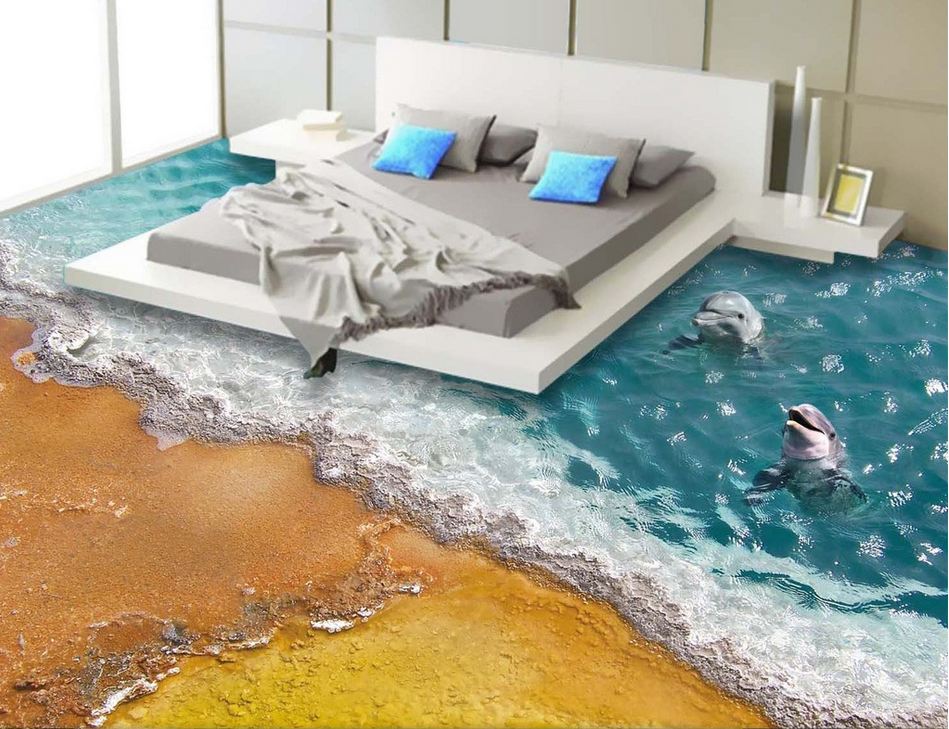 3D Dolphin Beach Sea 83 Floor WallPaper Murals Wall Print Decal AJ WALLPAPER US