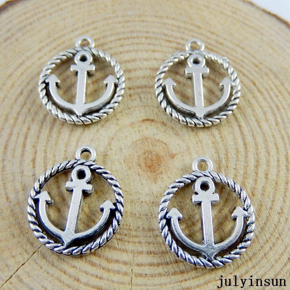 60x Vintage Silver Alloy Mini Hooks Anchors Pendant Charms Findings Craft 51262