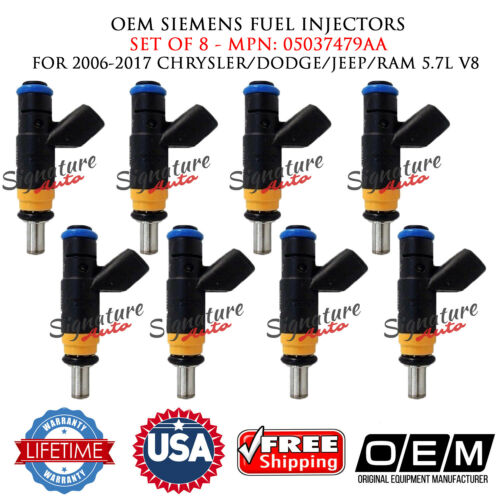 8PCS OEM Siemens Fuel Injectors for 2006-2017 CHRYSLER//DODGE//JEEP//RAM 5.7L V8