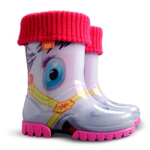 DEMAR Gefüttert Gummistiefel Kinder Regenstiefel mit Innensocken Stiefel NEU