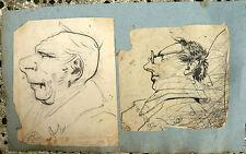 Paire de DESSINS ANCIENS Portrait Caricature Ferranti 1824 Old Drawing