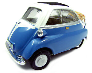 BMW-Isetta-250-con-Maleta-azul-blanco-Cararama-Auto-Modelo-1-43