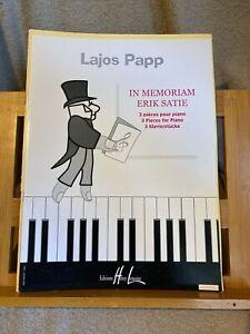 Lajos Papp In Memoriam Erik Satie partition piano éditions Lemoine