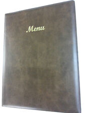 A4 MENU HOLDER/COVER/FOLDER IN BROWN LEATHER LOOK PVC - CLASSIC LOOK