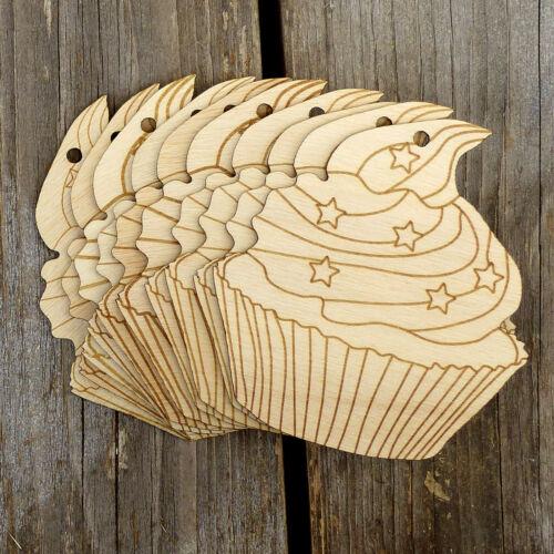 10x in legno per Cupcake C condita con le stelle Craft FORME BUDINO di cottura 3mm legno compensato