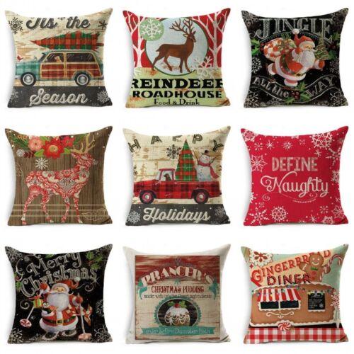 Christmas Pillow Case Cotton Linen Pillow Cushion Cover Throw Home Decor V-i