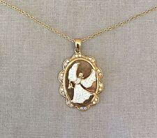 Vintage RL 925CN Signed White Angel Rhinestone Gold Tone Pendant Chain Necklace