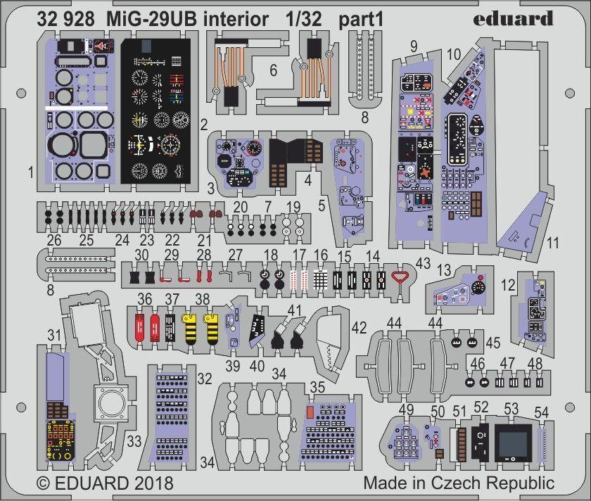 Eduard PE 32928 1 32 Mikoyan MiG-29UB Fulcrum interior details Trumpeter