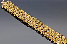 VINTAGE 1960s 14CT GOLD SAPPHIRE & DIAMOND STAR LINKED BRACELET.