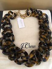NWT J Crew 100% Authentic Tortoise Link Collar Choker Necklace & Dust Bag