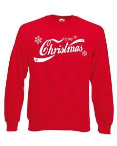 Enjoy-Christmas-Coca-Cola-Style-Unisex-Xmas-Jumper-Red