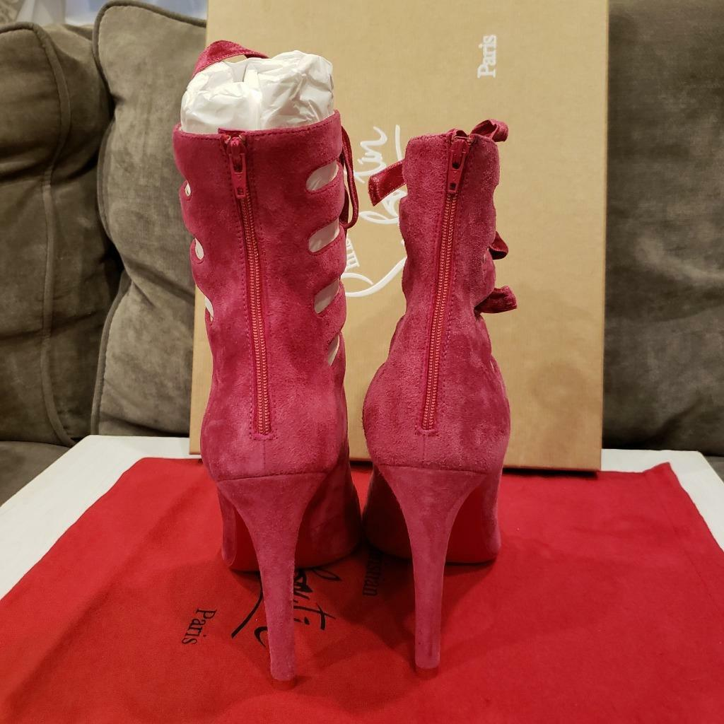 Christian Louboutin SPINETITA 100 Cutout Cutout Cutout Laced Pump Heel Sandal chaussures rose  1195 ef30b4