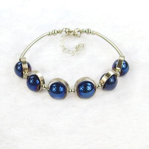 10 mm naturel pierres précieuses perles réglable Cintré Tube Bracelet Jonc Homard Fermoir