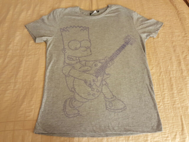 The Simpsons T Shirt L Large Gray EUC Bart Simpson playing a Les Paul Guitar