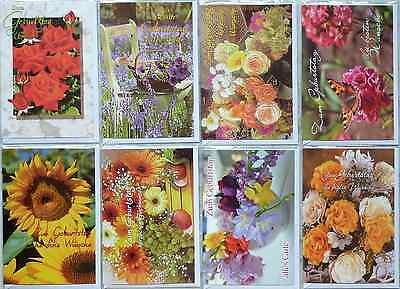 50 Glückwunschkarten GEBURTSTAGSKARTEN Blumen bouquet PREMIUM