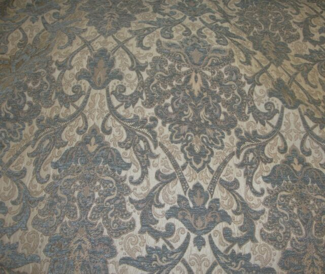 """Chenille Upholstery 57"""" Wide Royalty Damask Drapery fabric by the yard"""