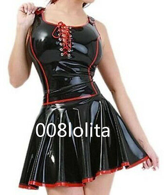 100%Latex Rubber Gummi Cool Black and Red Stylish Dress Size XS~XXL