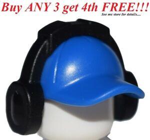 47dd068b7 Details about ☀️NEW Lego City Minifig Blue Hat Short Curved Bill w/ Seams  w/ Headphones