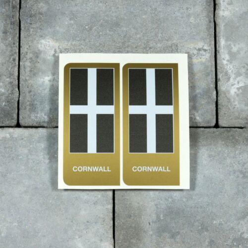 SKU-UV4057 2 x Cornish Cornwall Flag Vinyl Stickers Number Plate 45mm x 100mm