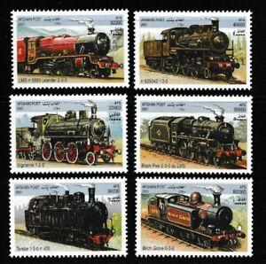Trains-mnh-set-of-6-stamps-2001-Afghanistan-Steam-locomotives-railroad