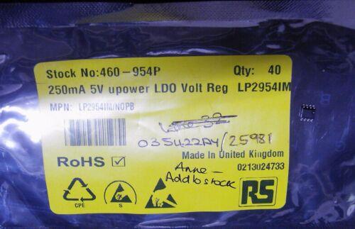 5 x LP2954IM 5V 250ma LDO voltage regulator SO8 LP29541M