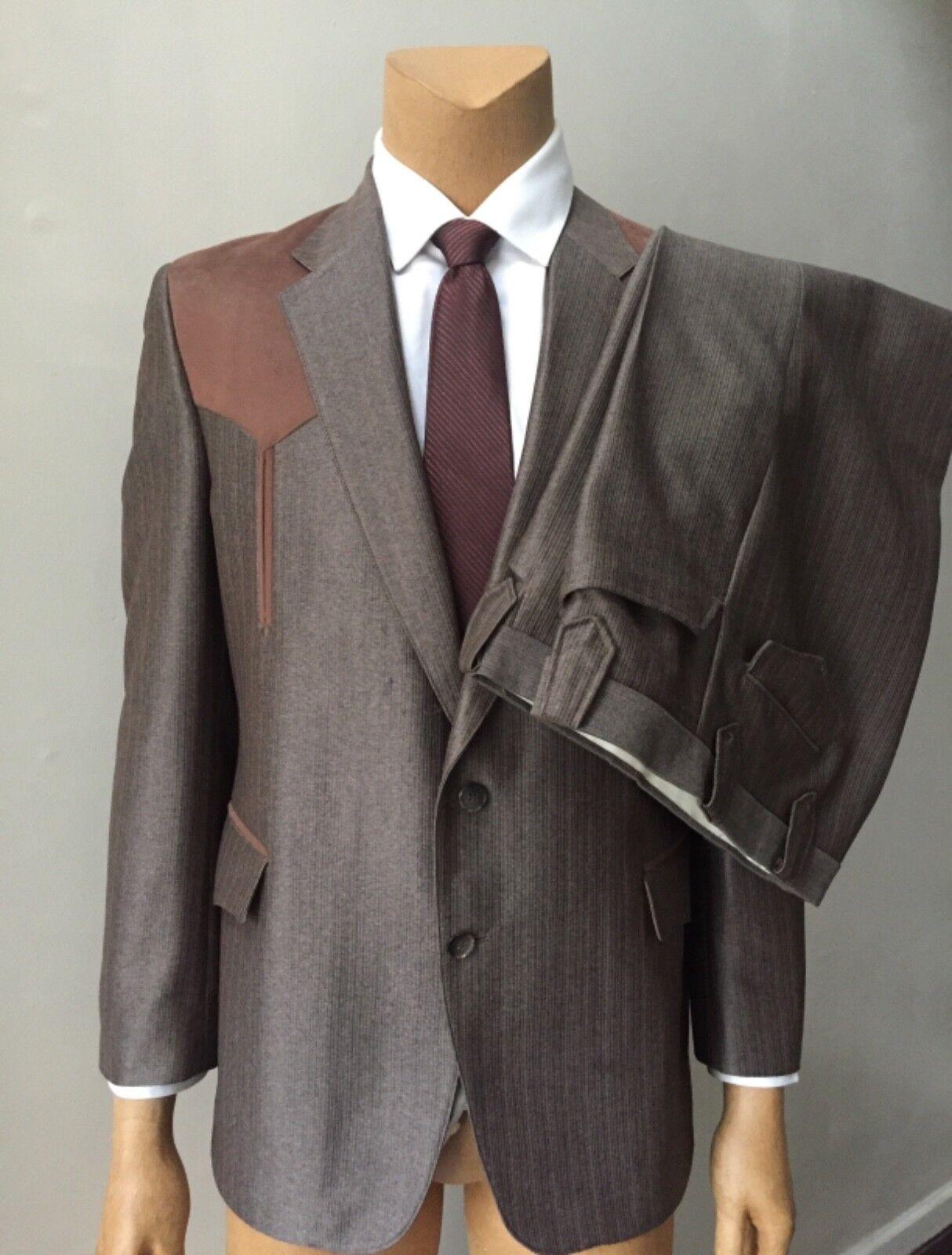 Men's Cowboy Retro Vintage 80s Rodeo Faux Suede Brown 2 Piece Pants Suit 42R