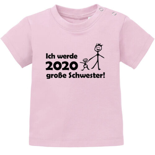 """Spruch /""""Ich werde 2020 große Schwester/""""  80//86 Baby T-Shirt"""