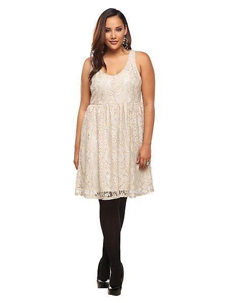 New Torrid Retro Vintage Cream Lace Lamé Sheath Tank Dress 16W