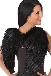 Paire d'AILES plumes NOIRES déguisement Femme Homme Ange Halloween NEUF