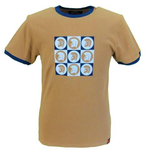 Trojan Records Mens Golden Tan Multi Logo 100/% Cotton Peach T-Shirt
