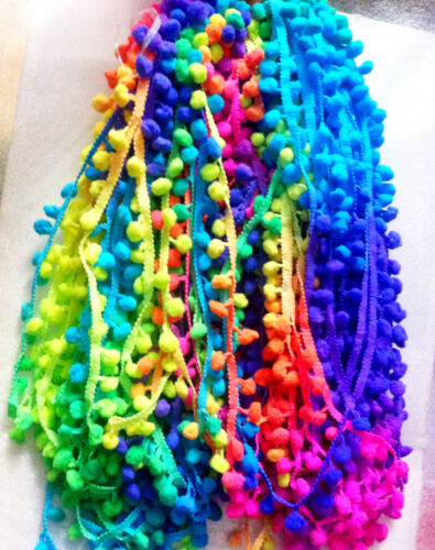 "0.4/"" Ball 1cm POM POM BOBBLE TRIM FRINGE Multicolored RAINBOW POMPOMS By M"