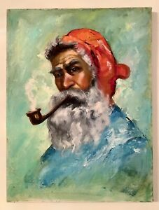 Original Oil On Canvas Painting Portrait old man in a red bandana smokes a pipe