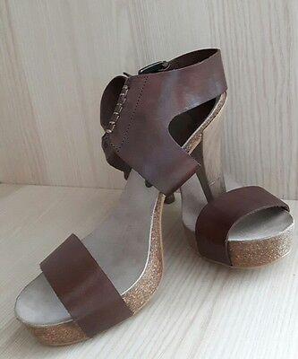 Damen Sandaletten Schuhe Higt Heels Platenau Pumps Gr. 37 braun