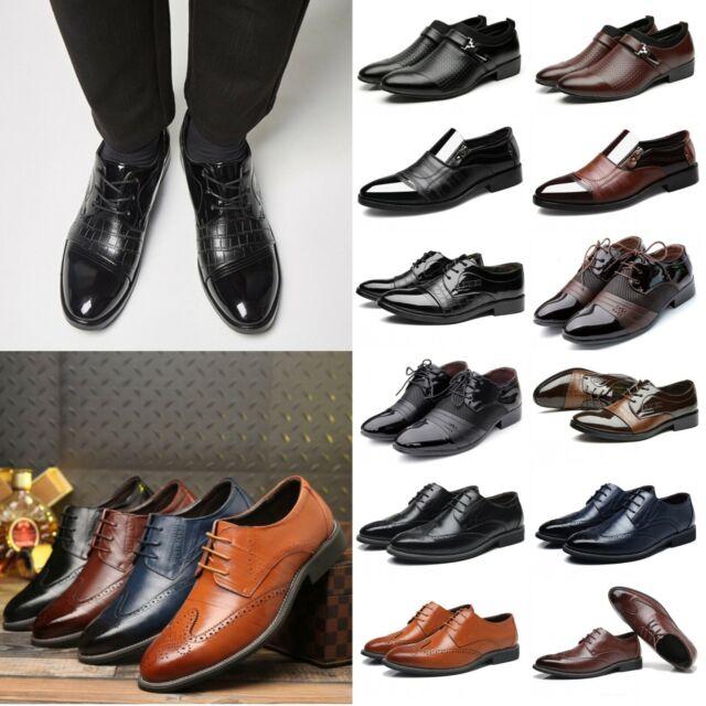 14cd428109 Men Leather Business Dress Shoes Oxfords Cap Toe Lace Up Soft Brogue Casual  Size