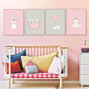 Cute Bunny Cartoon Canvas Nursery Wall Art Poster Print Baby ...