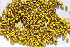 6-0-Vintage-Czech-Seed-Beads-Yellow-w-Brown-Stripes-28-grams