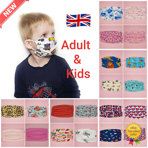 Face Mask Adult Kids Cotton Reusable Washable From Uk Ebay