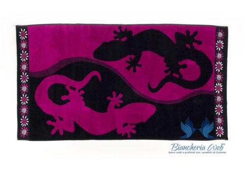 Strandtuch Jacquard In Schwamm Zeichnung Gecko Doppelt