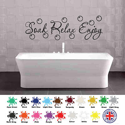 Soak Relax Enjoy Heart Quote Wall Art Stickers Decal Murals Home Bathroom