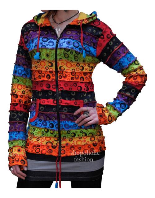 Women Rainbow Striped Bubble Print Hippie Hoodie Boho Festival Hippy Jacket Top