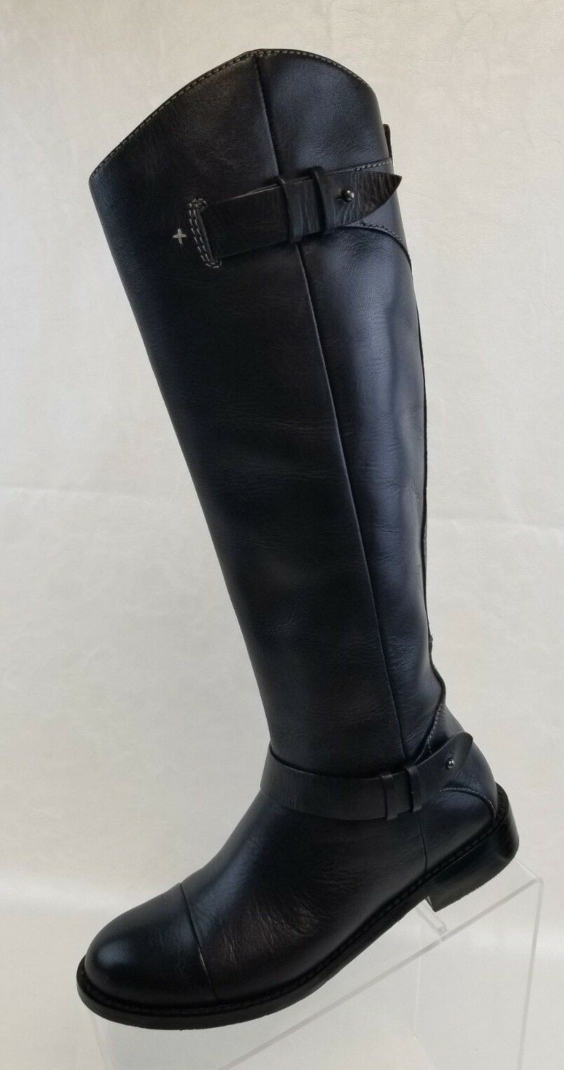 Halogen Knee Knee Knee High Boots Girls Riding Zip Black Leather Pull On Size 4.5M f76e21