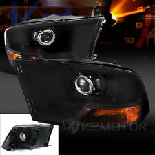 Dodge 09-17 RAM 1500 2500 3500 Euro Black Crystal Projector Headlights