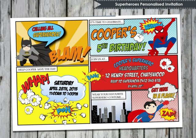 SUPERHERO INVITATIONS CARDS PERSONALISED BIRTHDAY INVITES BATMAN SPIDERMAN