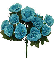 12 Open Roses Turquoise Blue Silk Wedding Flowers Bridal Bouquets Centerpieces