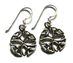 keltisch Kreuz Ohrringe 925 Sterling Silber Celtic  Cross Ohrhänger Unisex