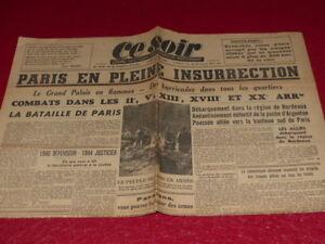 PRESSE-WW2-39-45-034-Ce-Soir-034-912-24-AOUT-1944-Liberation-PARIS-Aragon-Parrot